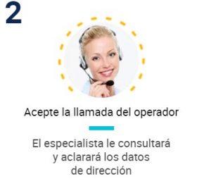 Acepte la llamada del operador