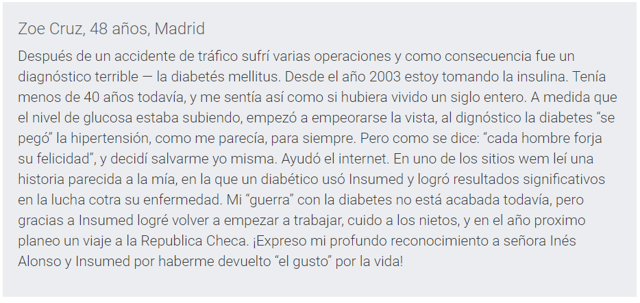 Insumed opiniones